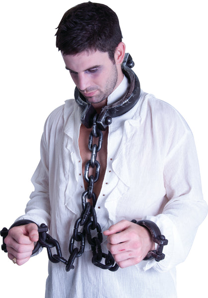 Medieval Large Costume Neck and Wrist Zombie Shackles