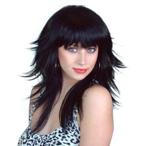 Layered Black 80s Wig - The Costume Company | Fancy Dress Costumes Hire and Purchase Brisbane and Australia