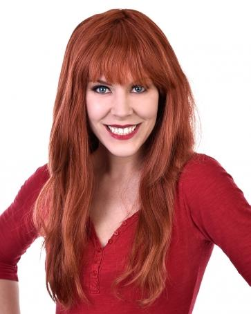 Long Auburn (Red) Wig with Fringe - The Costume Company | Fancy Dress Costumes Hire and Purchase Brisbane and Australia