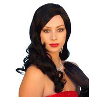 Long Black 1940s Glamour Wig - The Costume Company | Fancy Dress Costumes Hire and Purchase Brisbane and Australia