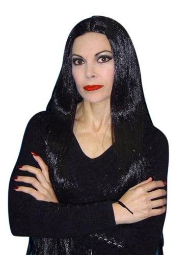 Long Black Morticia Style Wig - The Costume Company | Fancy Dress Costumes Hire and Purchase Brisbane and Australia