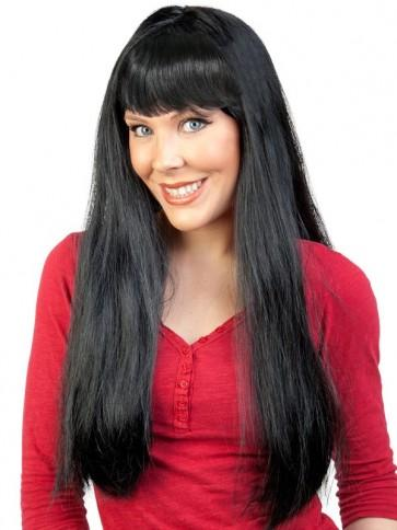 Long Black Wig with Fringe - The Costume Company | Fancy Dress Costumes Hire and Purchase Brisbane and Australia