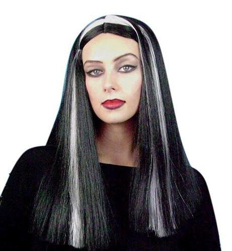 Long Black with White Streak Lily Style Wig - The Costume Company | Fancy Dress Costumes Hire and Purchase Brisbane and Australia