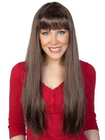 Long Brown Wig with Fringe - The Costume Company | Fancy Dress Costumes Hire and Purchase Brisbane and Australia