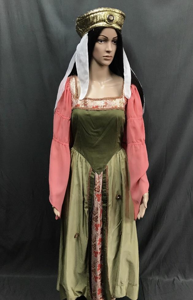 Maiden Apricot and Green Dress - Hire - The Costume Company | Fancy Dress Costumes Hire and Purchase Brisbane and Australia