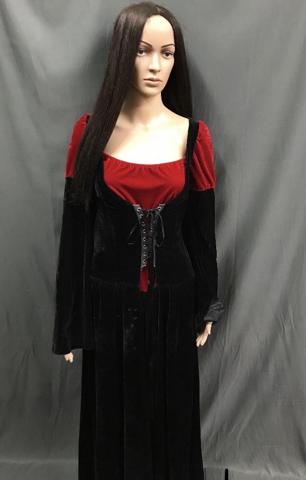 Maiden Black and Red Lace up Front Dress - Hire - The Costume Company | Fancy Dress Costumes Hire and Purchase Brisbane and Australia