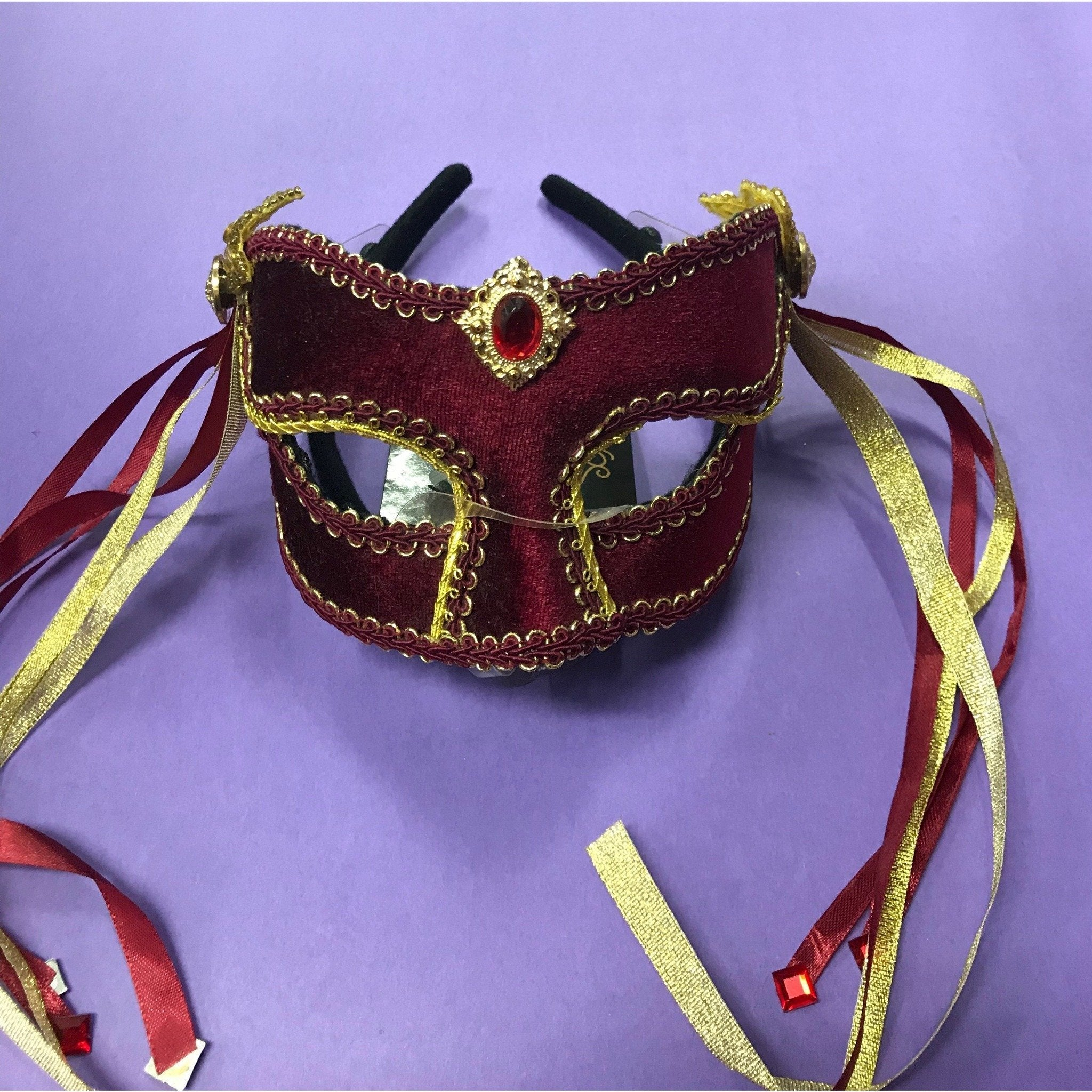 Maroon Carnival Masquerade Mask - The Costume Company | Fancy Dress Costumes Hire and Purchase Brisbane and Australia