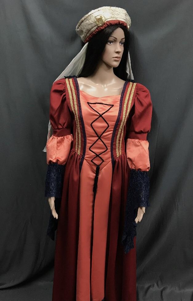 Medieval Apricot and Navy Princess Satin Dress - Hire - The Costume Company | Fancy Dress Costumes Hire and Purchase Brisbane and Australia