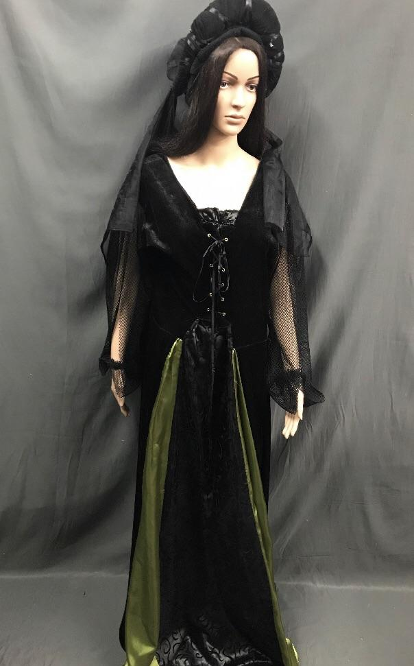 Medieval Black Dress with Chiffon Sleeves - Hire - The Costume Company | Fancy Dress Costumes Hire and Purchase Brisbane and Australia