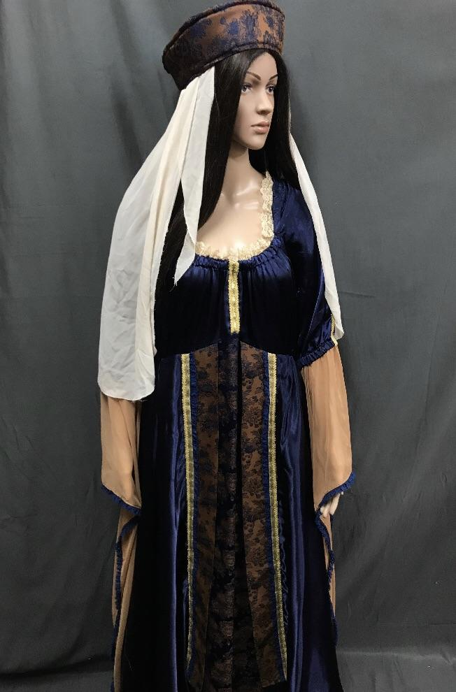Medieval Blue Dress with Floral Pattern Panel - Hire - The Costume Company | Fancy Dress Costumes Hire and Purchase Brisbane and Australia