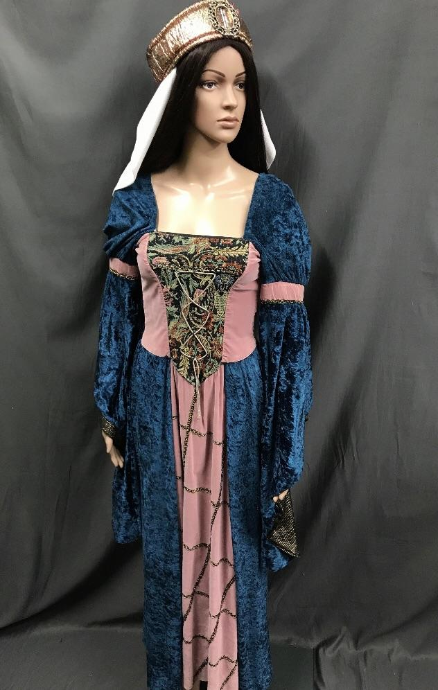 Medieval Blue Velvet Noble Dress with Musk Pink Panel - Hire - The Costume Company | Fancy Dress Costumes Hire and Purchase Brisbane and Australia