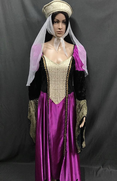 Medieval Bright Magenta Dress with Lace Look Bodice - Hire - The Costume Company | Fancy Dress Costumes Hire and Purchase Brisbane and Australia