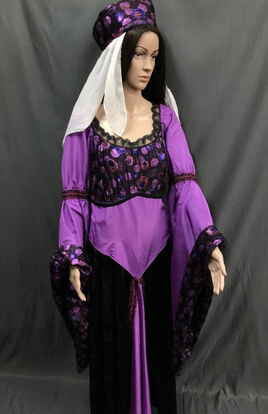Medieval Bright Purple Dress Large Bell Sleeves - Hire - The Costume Company | Fancy Dress Costumes Hire and Purchase Brisbane and Australia
