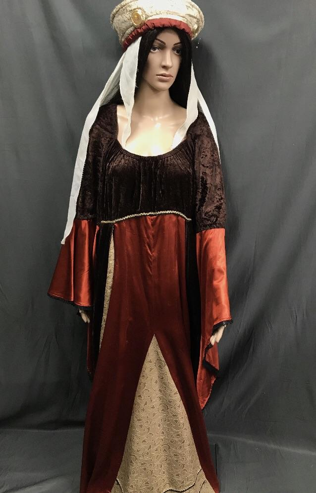 Medieval Burgundy and Brown Noble Lady Dress - Hire - The Costume Company | Fancy Dress Costumes Hire and Purchase Brisbane and Australia