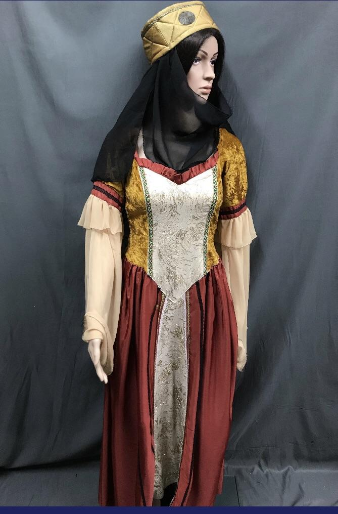Medieval Burgundy and Cream Noble Lady Dress - Hire - The Costume Company | Fancy Dress Costumes Hire and Purchase Brisbane and Australia