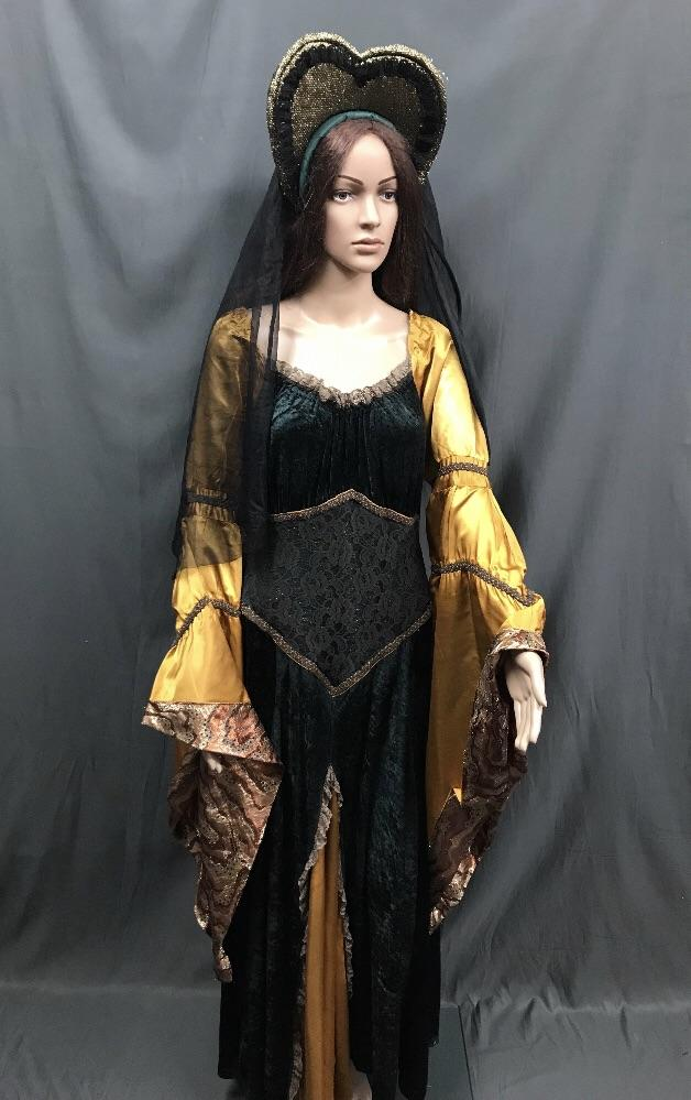Medieval Dark Emerald Green and Gold Princess Dress - Hire - The Costume Company | Fancy Dress Costumes Hire and Purchase Brisbane and Australia