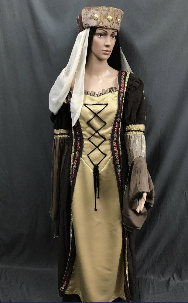 Medieval Gold and Brown Princess Dress - Hire - The Costume Company | Fancy Dress Costumes Hire and Purchase Brisbane and Australia