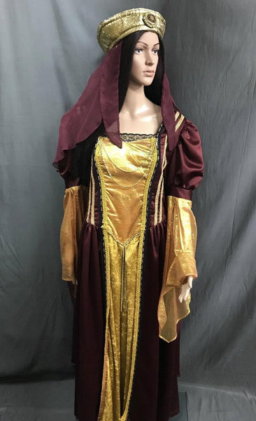Medieval Gold and Burgundy Noble Lady Dress - Hire - The Costume Company | Fancy Dress Costumes Hire and Purchase Brisbane and Australia