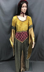 Medieval Gold and Maroon Maiden Dress - Hire - The Costume Company | Fancy Dress Costumes Hire and Purchase Brisbane and Australia