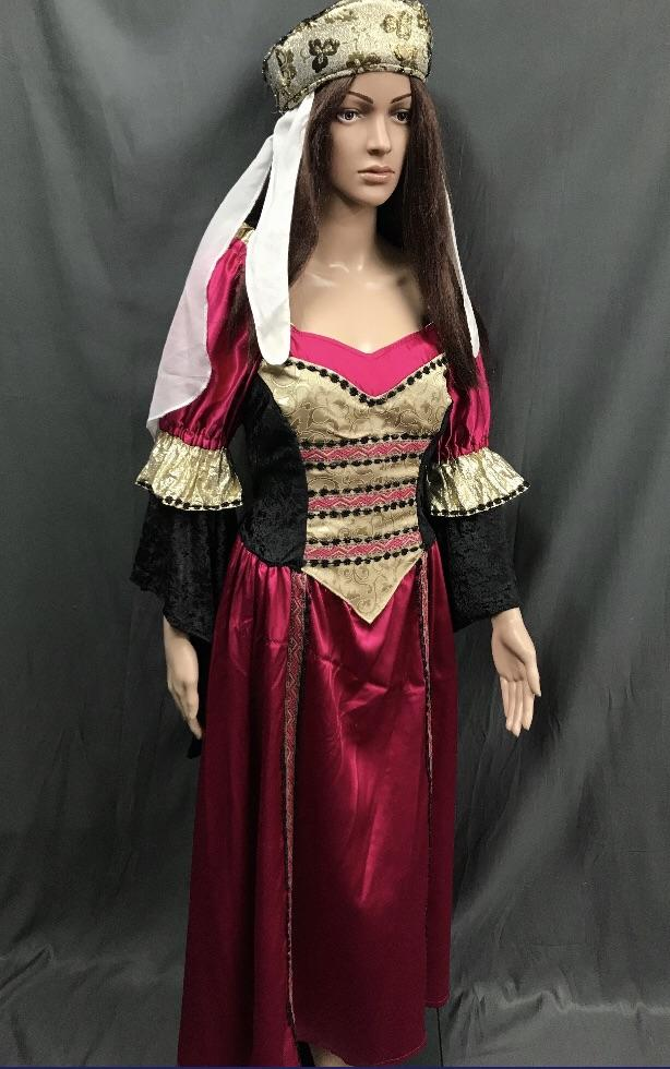 Medieval Hot Pink and Gold Dress - Hire - The Costume Company | Fancy Dress Costumes Hire and Purchase Brisbane and Australia