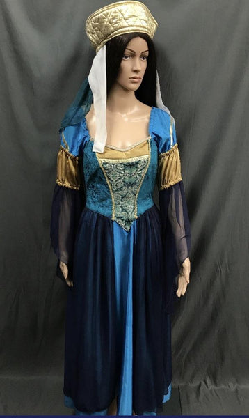Medieval Light Blue Dress with Gold and Chiffon Sleeves - Hire - The Costume Company | Fancy Dress Costumes Hire and Purchase Brisbane and Australia