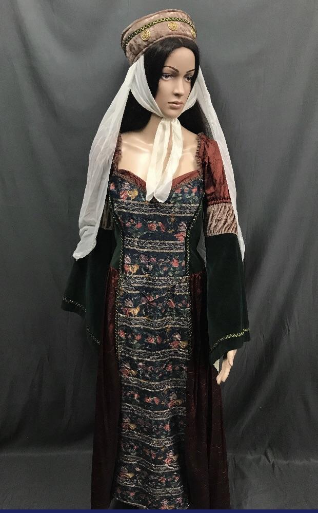 Medieval Long Dark Green with Beautiful Floral Panel Princess Dress - Hire - The Costume Company | Fancy Dress Costumes Hire and Purchase Brisbane and Australia
