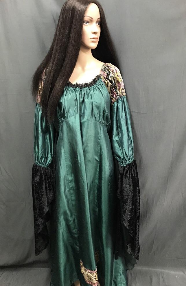 Medieval Long Green Satin Dress - Hire - The Costume Company | Fancy Dress Costumes Hire and Purchase Brisbane and Australia