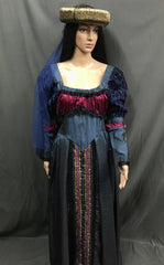 Medieval Navy blue and pink Noble Lady Dress - Hire - The Costume Company | Fancy Dress Costumes Hire and Purchase Brisbane and Australia