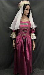 Medieval Pink and Gold Noble Lady Dress - Hire - The Costume Company | Fancy Dress Costumes Hire and Purchase Brisbane and Australia