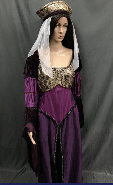 Medieval Plum and Gold Noble Lady Dress - Hire - The Costume Company | Fancy Dress Costumes Hire and Purchase Brisbane and Australia