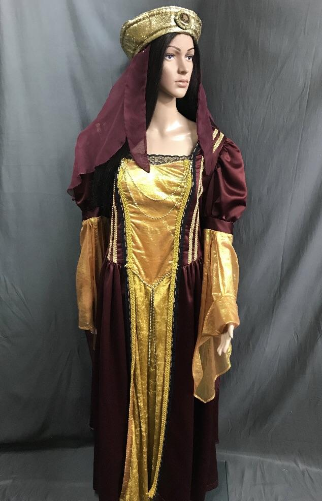 Medieval Princess Burgundy and Gold Dress - Hire - The Costume Company | Fancy Dress Costumes Hire and Purchase Brisbane and Australia