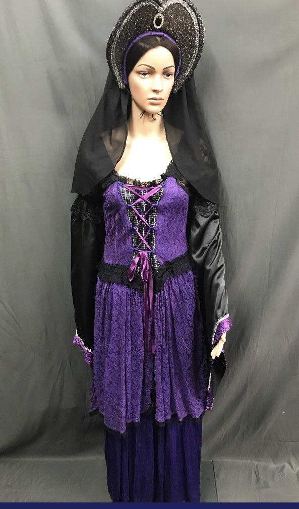 Medieval Purple and Black Noble Lady Dress - Hire - The Costume Company | Fancy Dress Costumes Hire and Purchase Brisbane and Australia