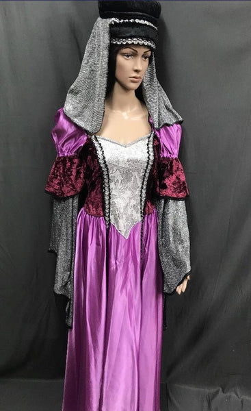 Medieval Purple and Silver Noble Lady Dress - Hire - The Costume Company | Fancy Dress Costumes Hire and Purchase Brisbane and Australia