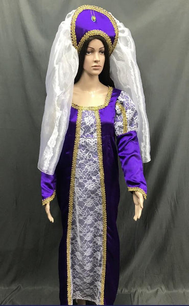 Medieval Purple and White Lace Princess Dress - Hire - The Costume Company | Fancy Dress Costumes Hire and Purchase Brisbane and Australia