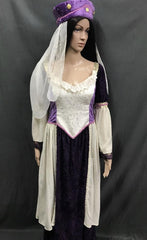 Medieval Purple and White Noble Lady Dress - Hire - The Costume Company | Fancy Dress Costumes Hire and Purchase Brisbane and Australia