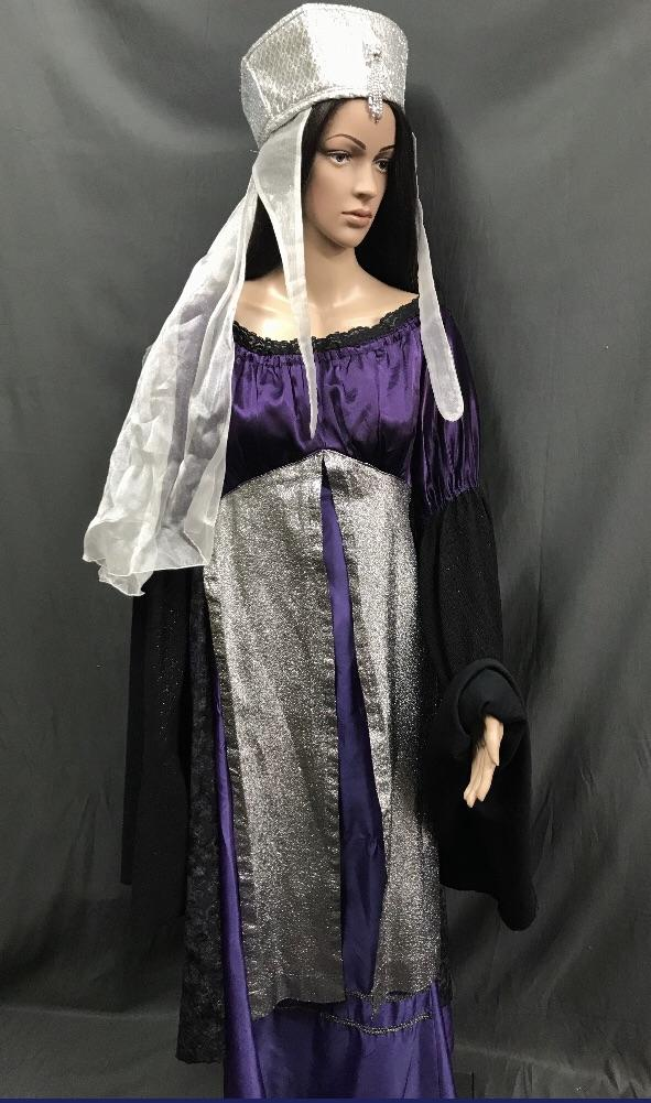 Medieval Purple, Black and Silver Noble Lady Dress - Hire - The Costume Company | Fancy Dress Costumes Hire and Purchase Brisbane and Australia