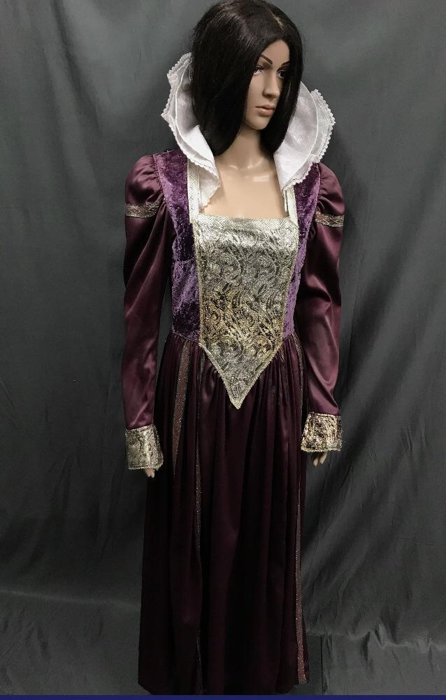 Medieval Purple Satin Princess Dress with Velvet Bodice - Hire - The Costume Company | Fancy Dress Costumes Hire and Purchase Brisbane and Australia