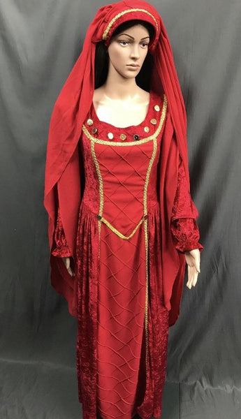 Medieval Red and Gold Noble Lady Dress - Hire - The Costume Company | Fancy Dress Costumes Hire and Purchase Brisbane and Australia