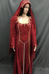 Medieval Red and Pearl Noble Lady Dress - Hire - The Costume Company | Fancy Dress Costumes Hire and Purchase Brisbane and Australia