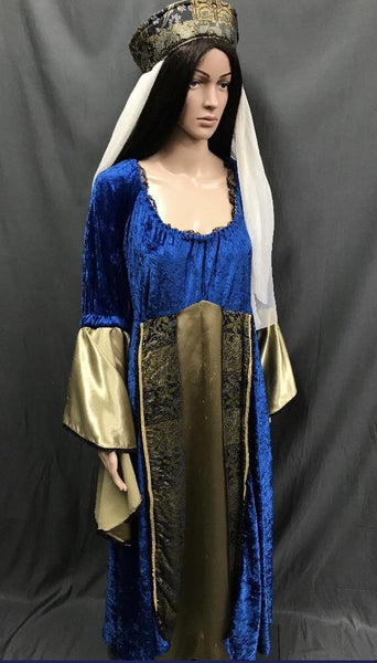 Medieval Royal Blue and Gold Dress - Hire - The Costume Company | Fancy Dress Costumes Hire and Purchase Brisbane and Australia