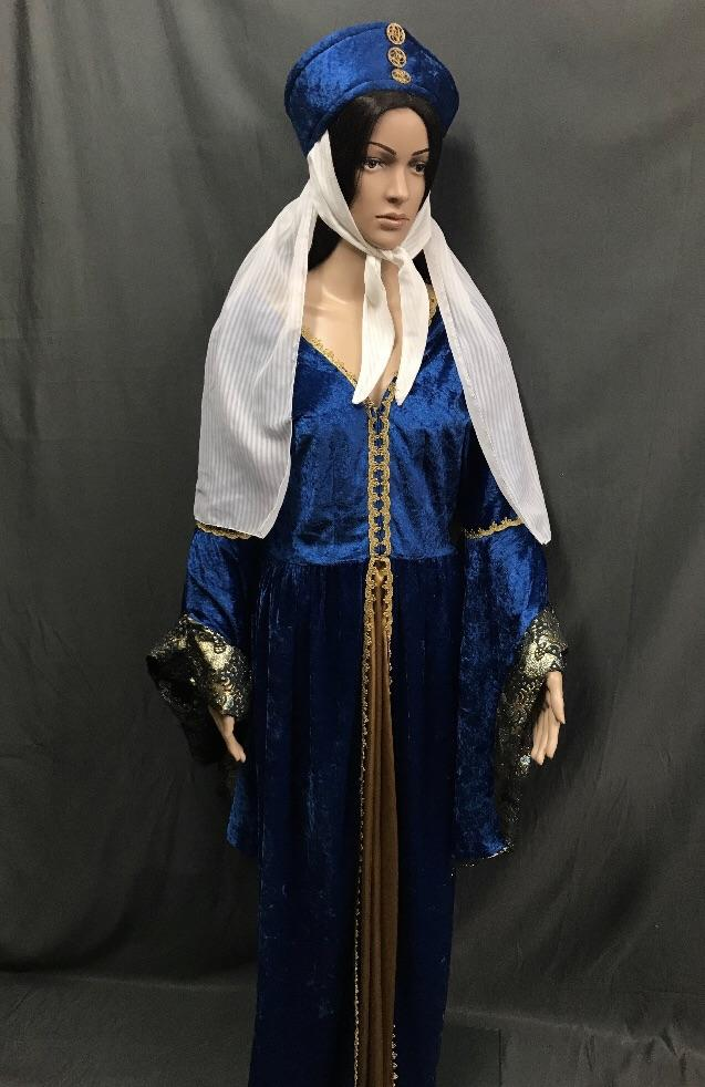 Medieval Royal Blue Dress with Gold Braid - Hire - The Costume Company | Fancy Dress Costumes Hire and Purchase Brisbane and Australia