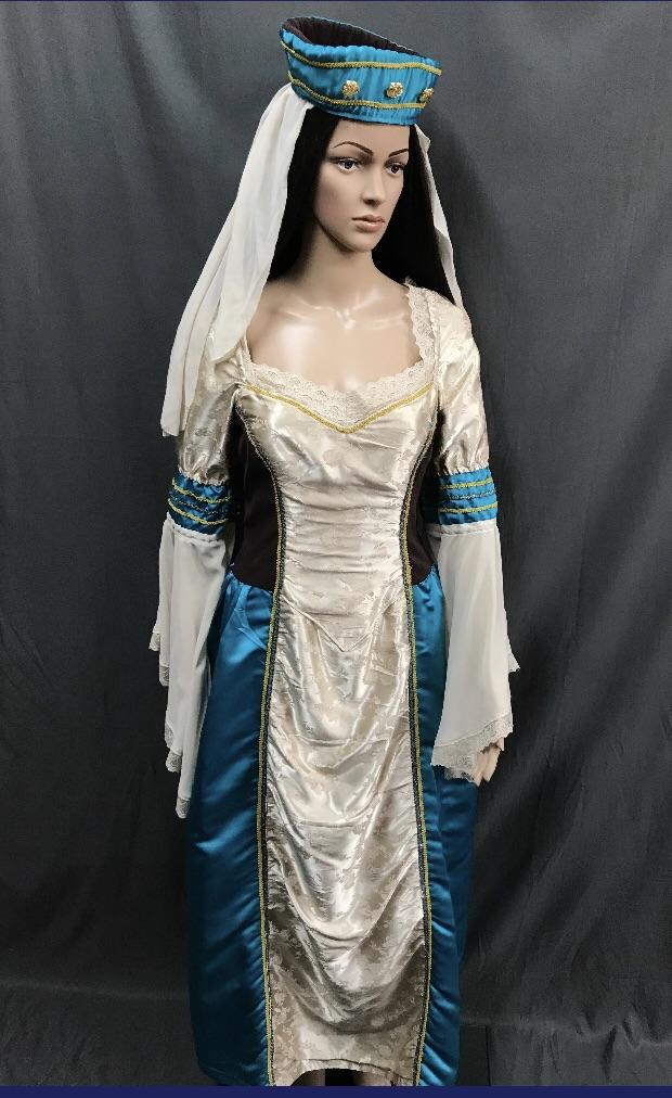 Medieval Silver and Aqua Noble Lady Dress - Hire - The Costume Company | Fancy Dress Costumes Hire and Purchase Brisbane and Australia