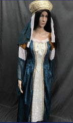 Medieval Teale and White Noble Lady Dress - Hire - The Costume Company | Fancy Dress Costumes Hire and Purchase Brisbane and Australia