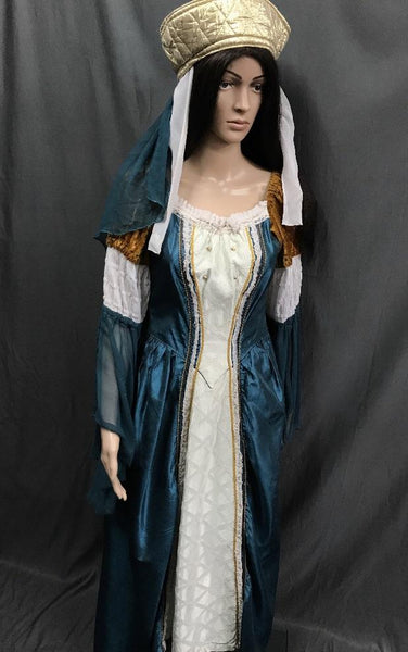 Medieval Teale Blue with Gold and White Dress - Hire - The Costume Company | Fancy Dress Costumes Hire and Purchase Brisbane and Australia