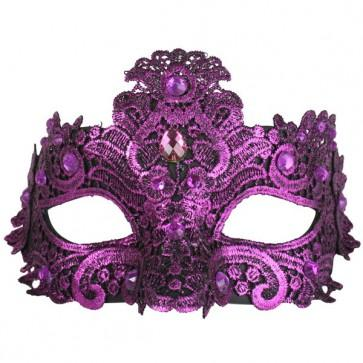Metallic Magenta Crystal Lace Masquerade Mask - The Costume Company | Fancy Dress Costumes Hire and Purchase Brisbane and Australia