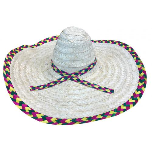 Mexican Sombrero Natural with Multicoloured Edge - The Costume Company | Fancy Dress Costumes Hire and Purchase Brisbane and Australia