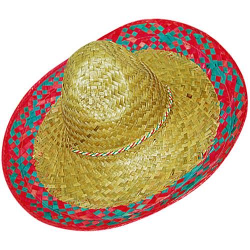 Mexican Sombrero Natural with Red Pattern Edge - The Costume Company | Australian & Family Owned