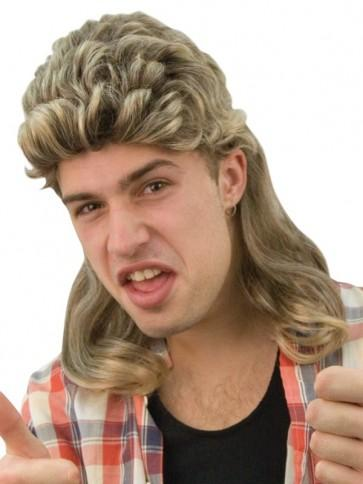 Mullet Brown with Blonde Streaks 80s Wig - The Costume Company | Fancy Dress Costumes Hire and Purchase Brisbane and Australia