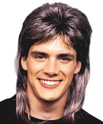 Mullet Streaked Brown 80s Wig - The Costume Company | Fancy Dress Costumes Hire and Purchase Brisbane and Australia