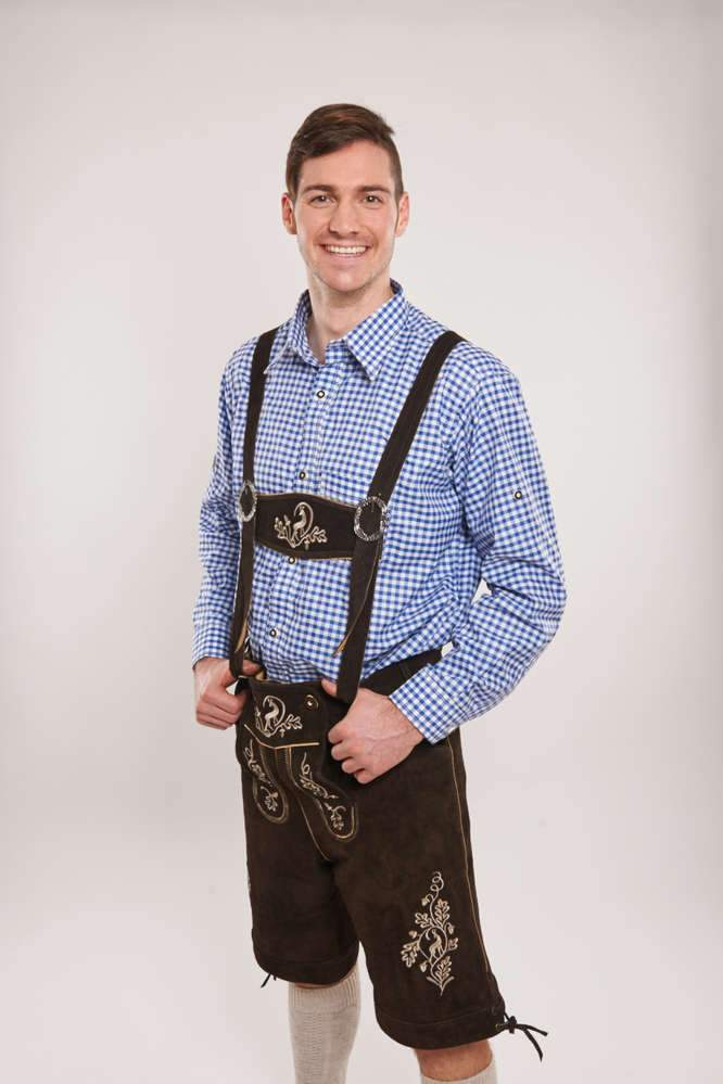 Oktoberfest Authentic Leather Men's Brown Lederhosen with Pockets - The Costume Company | Fancy Dress Costumes Hire and Purchase Brisbane and Australia